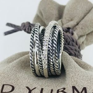 David Yurman Crosseover Wide Ring with Diamonds